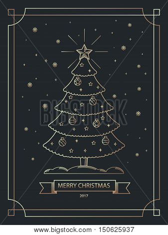Merry Christmas banner in outline linear style. Christmas greeting card. Christmas postcard with Xmas tree in simple gold outline style. Vector illustration.