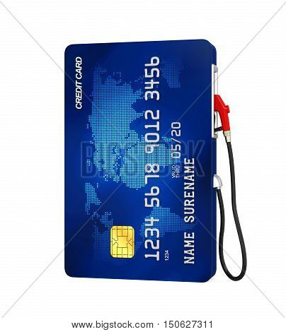 Credit Card and Gas Pump Nozzle isolated on white background. 3D render
