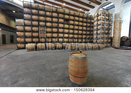 Old wine barrels in a wine vineyard.