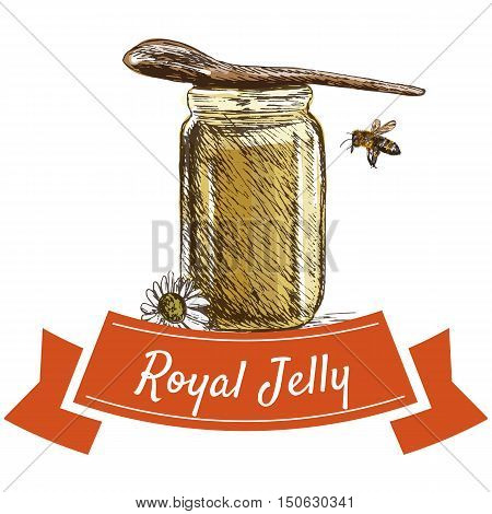 Royal jelly colorful illustration. Vector colorful illustration of royal jelly.