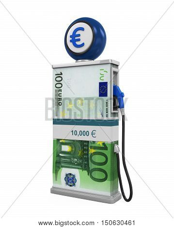 Euro Stack and Gas Pump Nozzle isolated on white background. 3D render