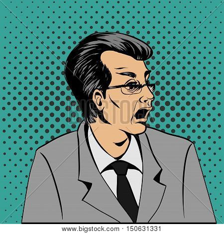 Wow Pop Art Surprised Man Face. Pop Art Illustration Of A Comic Style.
