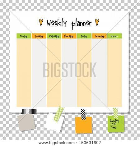 Weekly planner. Note paper, Notes, to do list. Organizer planner template. Note paper. New year and Christmas time.