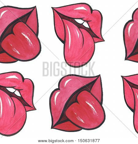 Watercolor female red lips with lust isolated. Aquarelle wild flower could be used for background, texture, wrapper pattern, frame or border.