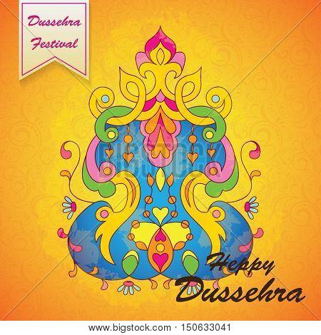 Dussehra festival background.Greeting card for Dussehra celebration in India.