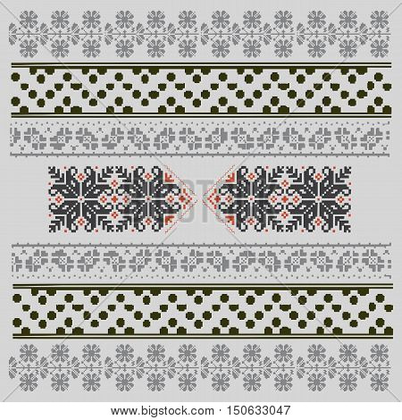 Ethnic National Ornament. Vintage Nordic Ornament. Retro Geometric Embroidery Swatch. Digital background vector illustration.
