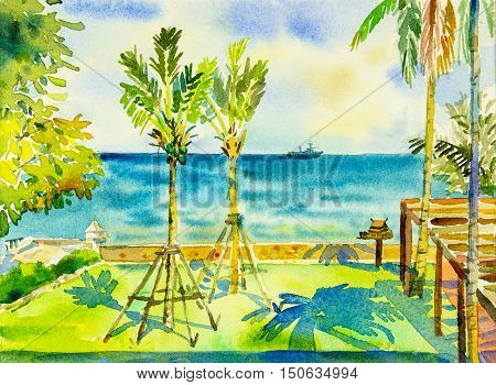 Watercolor painting original seascape colorful of sea and green garden and emotion in blue background