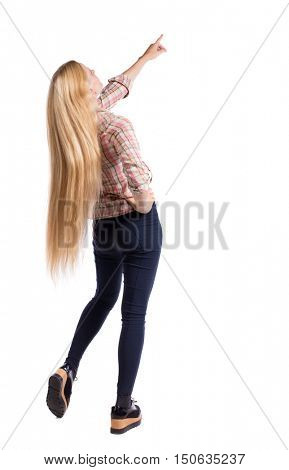 Back view of  pointing woman. beautiful girl. Rear view people collection.  backside view of person.  Isolated over white background.Girl with very long hair shows his hand up.