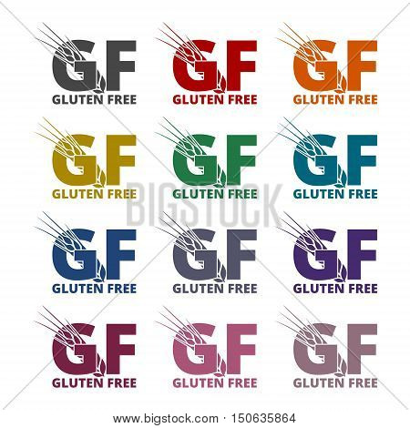 Color Gluten free Sign icons set on white