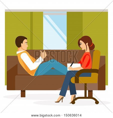 Male patient in the office of a psychologist. Psychological counseling. Coping with stress and addiction.