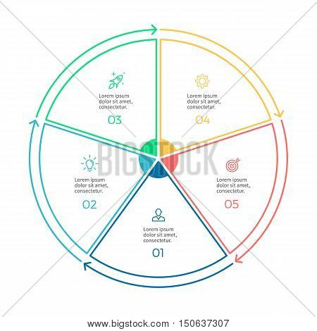 Linear infographics. Pie chart, diagram with 5 steps, options. Vector design element.