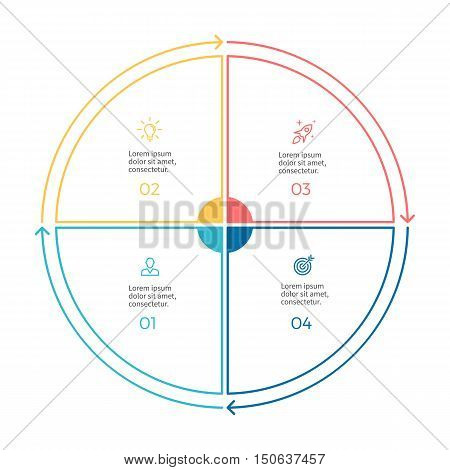 Linear infographics. Pie chart, diagram with 4 steps, options. Vector design element.