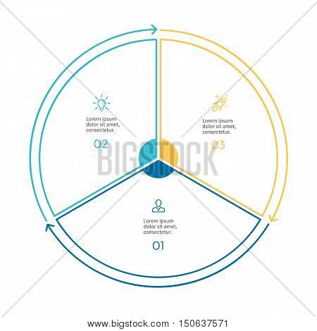Linear infographics. Pie chart, diagram with 3 steps, options. Vector design element.