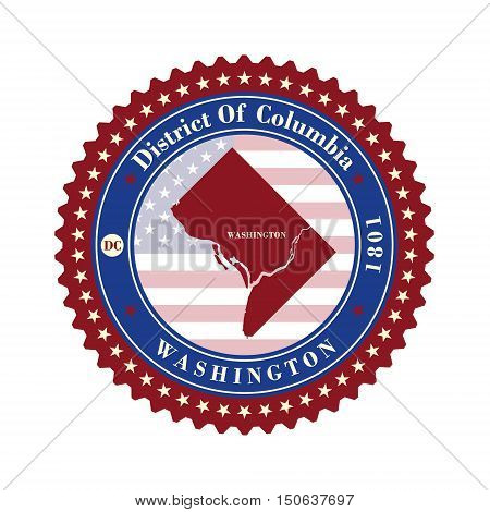 Label sticker cards of District of Columbia USA. Stylized badge with the name of the State year of creation the contour maps and the names abbreviations.