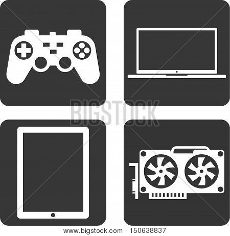 Flat icons technology. Gamepad, laptop, tablet, video card.