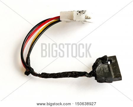 The burnt cable sata PC.
