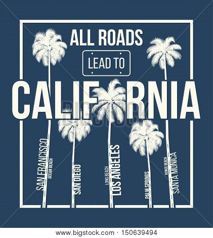 California T-shirt Graphic Design With Palms. T-shirt Print, Typography, Label, Badge, Emblem. Vecto