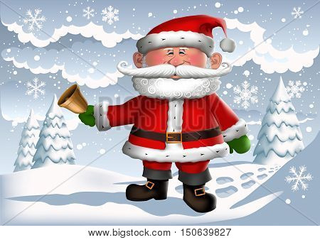 Santa Clause ringing a bell in an icy winter scene.