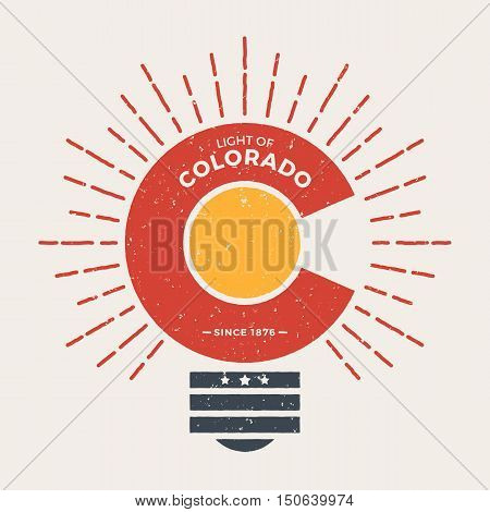 Colorado T-shirt Graphic Design With Styled Light Bulb. Tee Shirt Print, Typography, Label, Badge, E