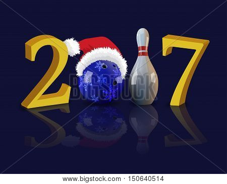 Bowling Happy New Year 2017 with bowling ball and pin. Vector illustration.