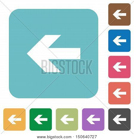 Flat left arrow icons on rounded square color backgrounds.