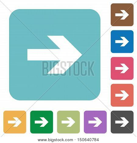 Flat right arrow icons on rounded square color backgrounds.