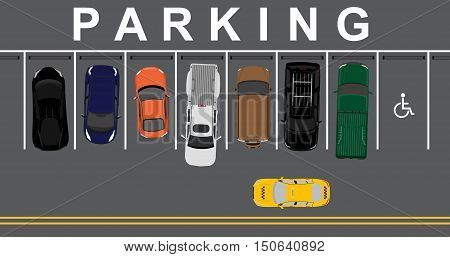 poster of Vector illustration top view parking lot concept. Sport car pick up car sedan car and offroad car. Parking zones. Car park