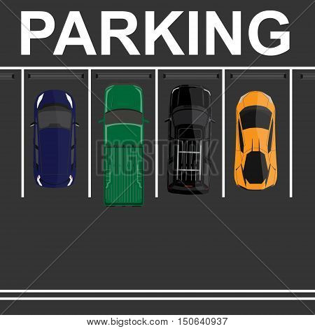 Vector illustration top view parking lot concept. Orange sport car green pick up blue sedan car and black offroad car. Parking zones. Car park