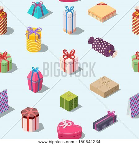 Seamless pattern with colored gift boxes. Isometric present box background. Texture for print. Editable vector illustration