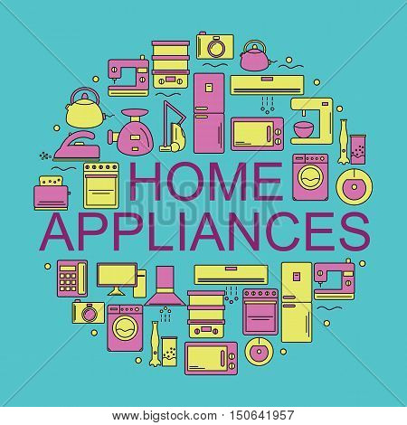 Home appliances. Icons of home appliances placed in a circle. Vector illustration.