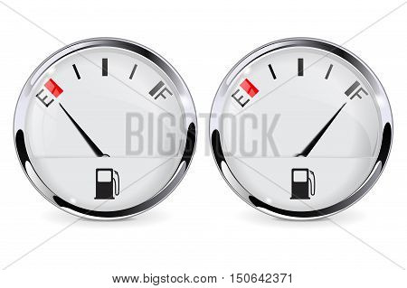 Fuel gauge. Empty and full. Realistic vector illustration isolated on white background