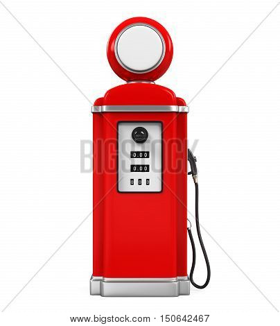 Retro Gas Pump isolated on white background. 3D render
