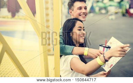 Couple Dating Amusement Park Funfair Festive Playful Happiness Concept