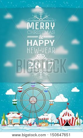 Invitation card Merry Christmas and happy new year 2017 on fair. Vector illustration flat style. Market stall circus supermarket ferris wheel christmas trees are covered with snow
