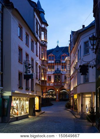 Old street  at dusk  in the center  of Bernkastel-Kues (in   the background  rathaus),  Rhineland-Palatinate, Germany.
