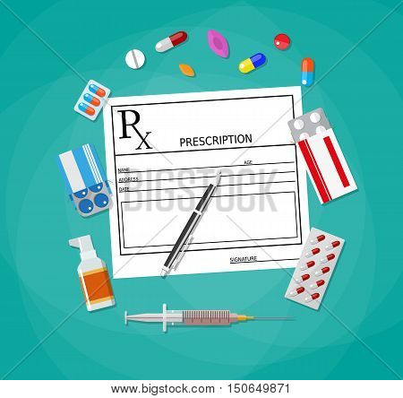 prescription and pen. pills, capsules, syringe, tablets. Healthcare, hospital and medical diagnostics concept. vector illustration in flat style