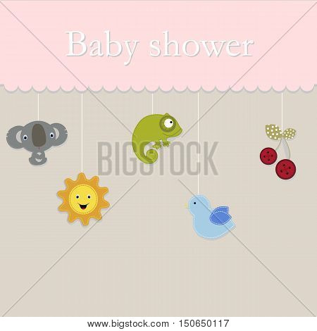 baby shower postcard. Template poster for greetings or invitations. Baby shower and arrival. Baby vector illustration