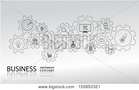 Business mechanism startup concept Abstract background with connected gears icons for strategy service analytics researchdigital marketing communicate concepts. Vector infographic illustration