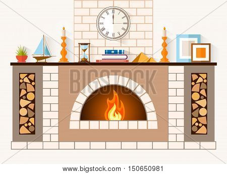 The design of the fireplace. Room with a large brick fireplace with chimney mantel decorations and souvenirs. Vector illustration.