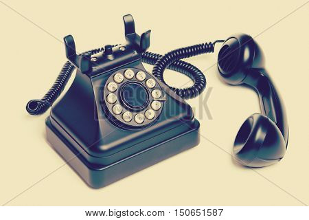 Old isolated vintage telephone with filter