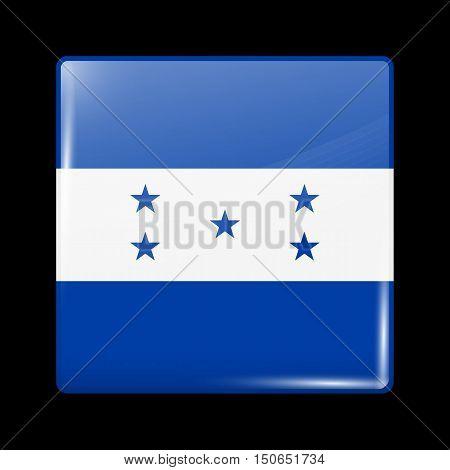 Flag Of Honduras. Glossy Icon Square Shape