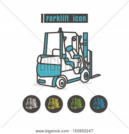 vector Forklift icon color on white background
