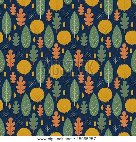 Autumn seamless pattern on dark blue background. Decorative leaves vector illustration. Cute forest background with trees. Scandinavian style nature design for textile, wallpaper, fabric, decor.