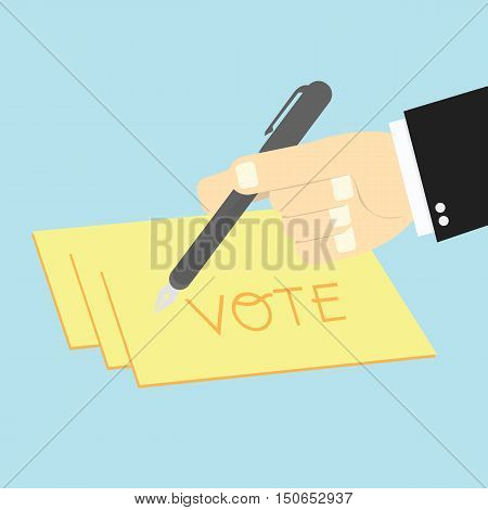 Voting Concept By Hand Writing Paper Votes
