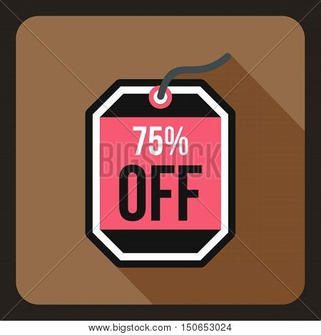 Sale tag 75 percent off icon in flat style on a coffee background vector illustration