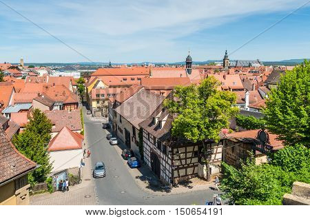Bamberg Germany - May 22 2016: Aerial view of the old city architecture. Bamberg is under UNESCO protection.