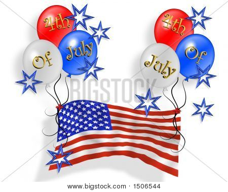 Happy 4Th Of July Flag With Balloons