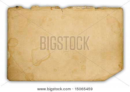 ragged old paper isolated on white background with clipping path