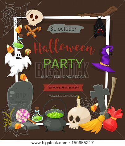 Halloween party banner. Vector background with pumpkin, ghost, candy in flat style. Great design for halloween party, menu or invitation. Retro cartoon style illustration