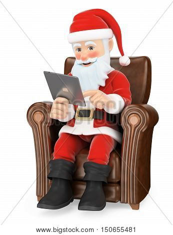3d christmas people illustration. Santa Claus sitting on a sofa with a tablet. Isolated white background.